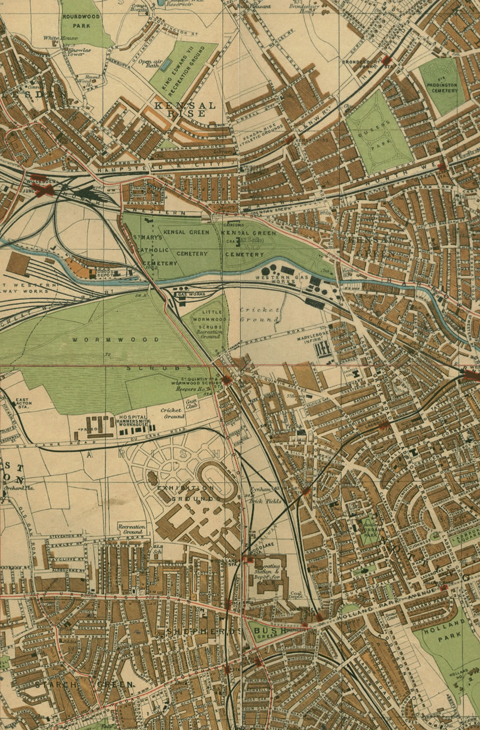 Shepherds Bush to Kensal Rise - from a Phillips atlas 1920's